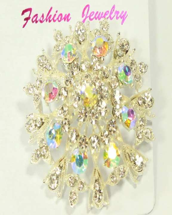 Silver floral brooch With Multi Stones