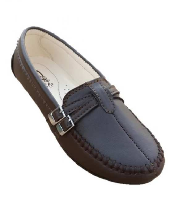 Brown Buckle Synthetic Leather Mocassin Shoes For Women.