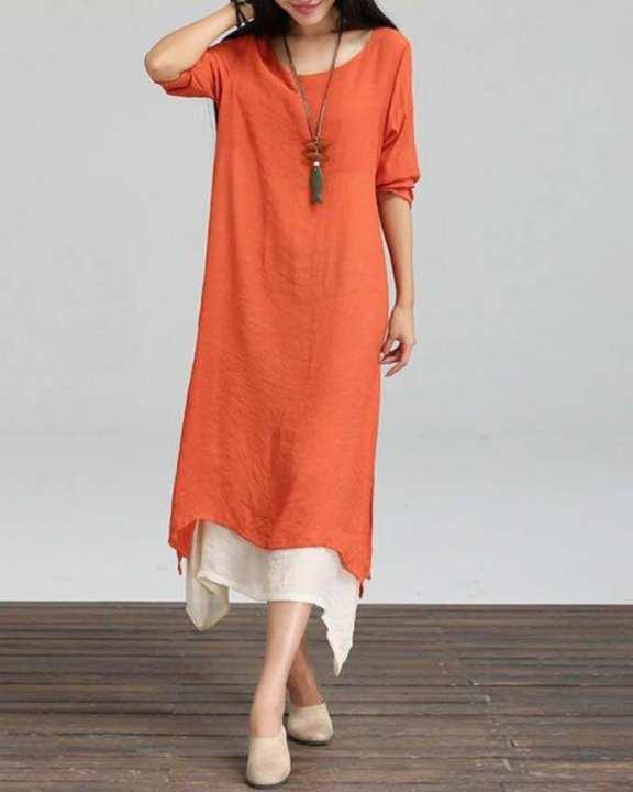 Orange Cotton Long Kurti for Women
