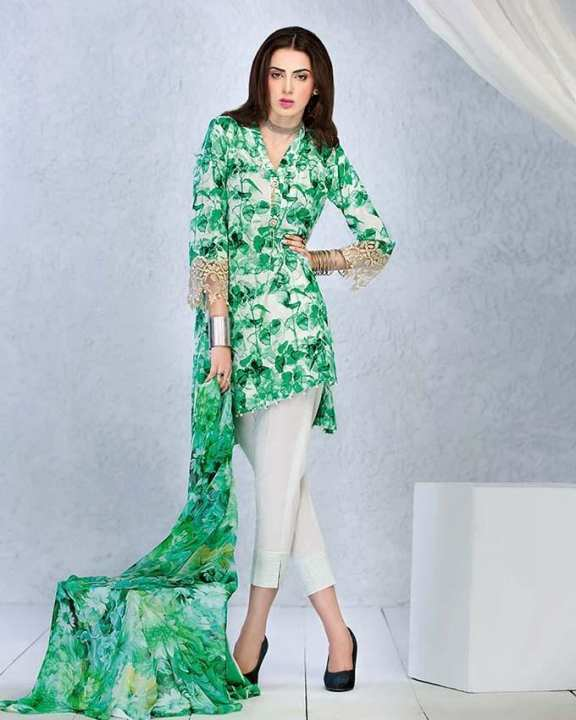 Gul Ahmed - White Soya Silk Printed shirt with blended chiffon and Embroidered Lace 3PC-Unstitched -  SY-20-158515