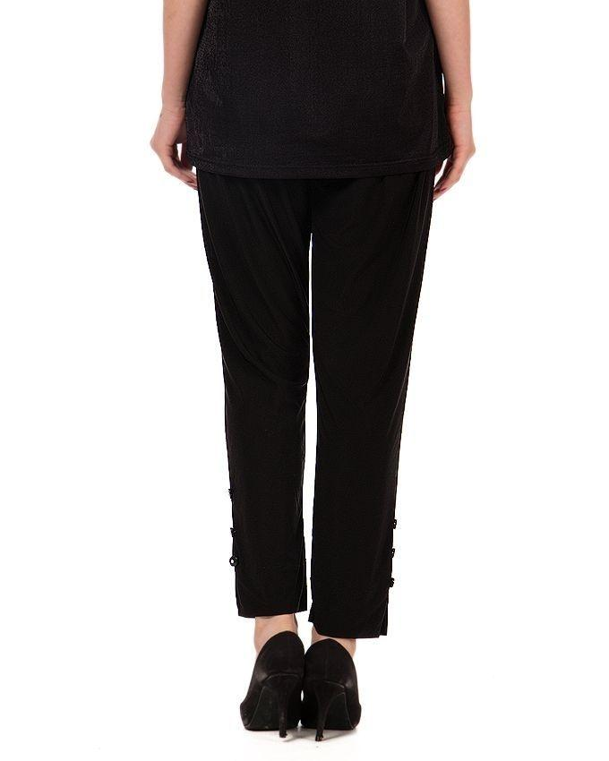 Black RTY Fabric Cigarette Pant For Women