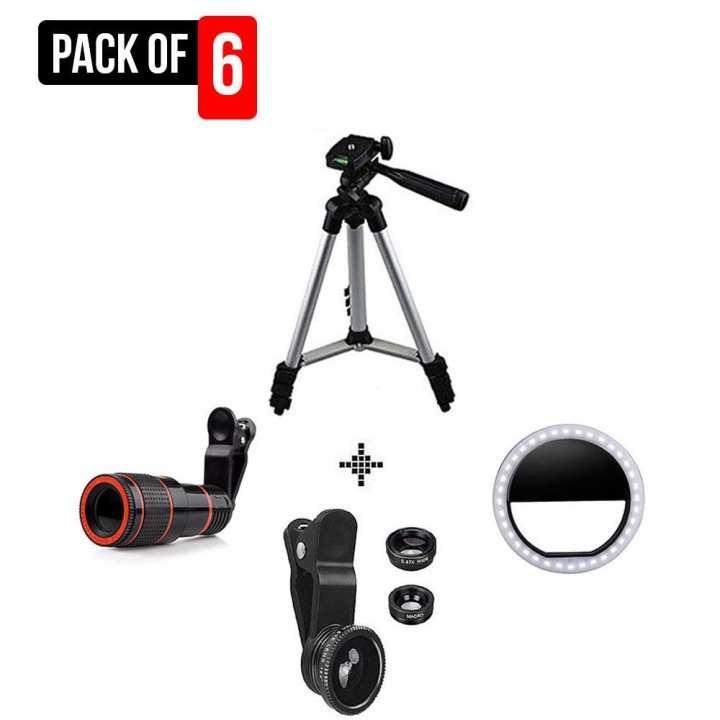 Pack Of 6 Complete Camera Kit Tiktok Vloging equipment 3110 Tripod - 8X Lens - Rechargeable 36 LEDs Selfie Ring Light - 3 In 1 Universal Clip Lens For Smartphones