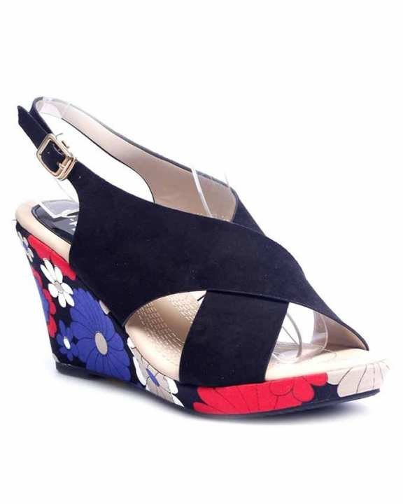Black Peep Toe Wedge for Women