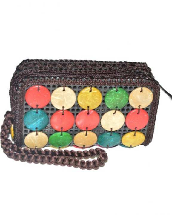 Brown Jute Clutch Bag For Women