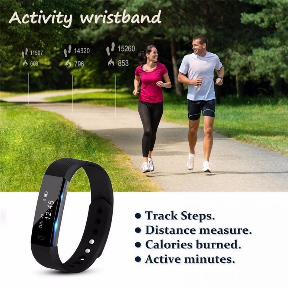 ID115 Touch Screen Fitness Tracker Watch Smart Bracelet Wristband Pink