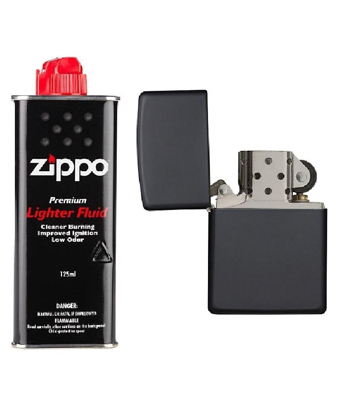 New National Shop Zippo Lighter With Fluid - Black