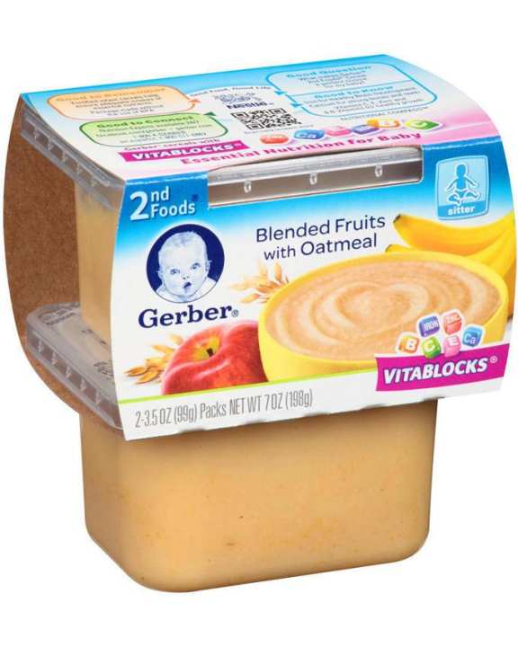 Gerber 2nd Foods Pudding Apple Banana Oatmeal Cereal 226g