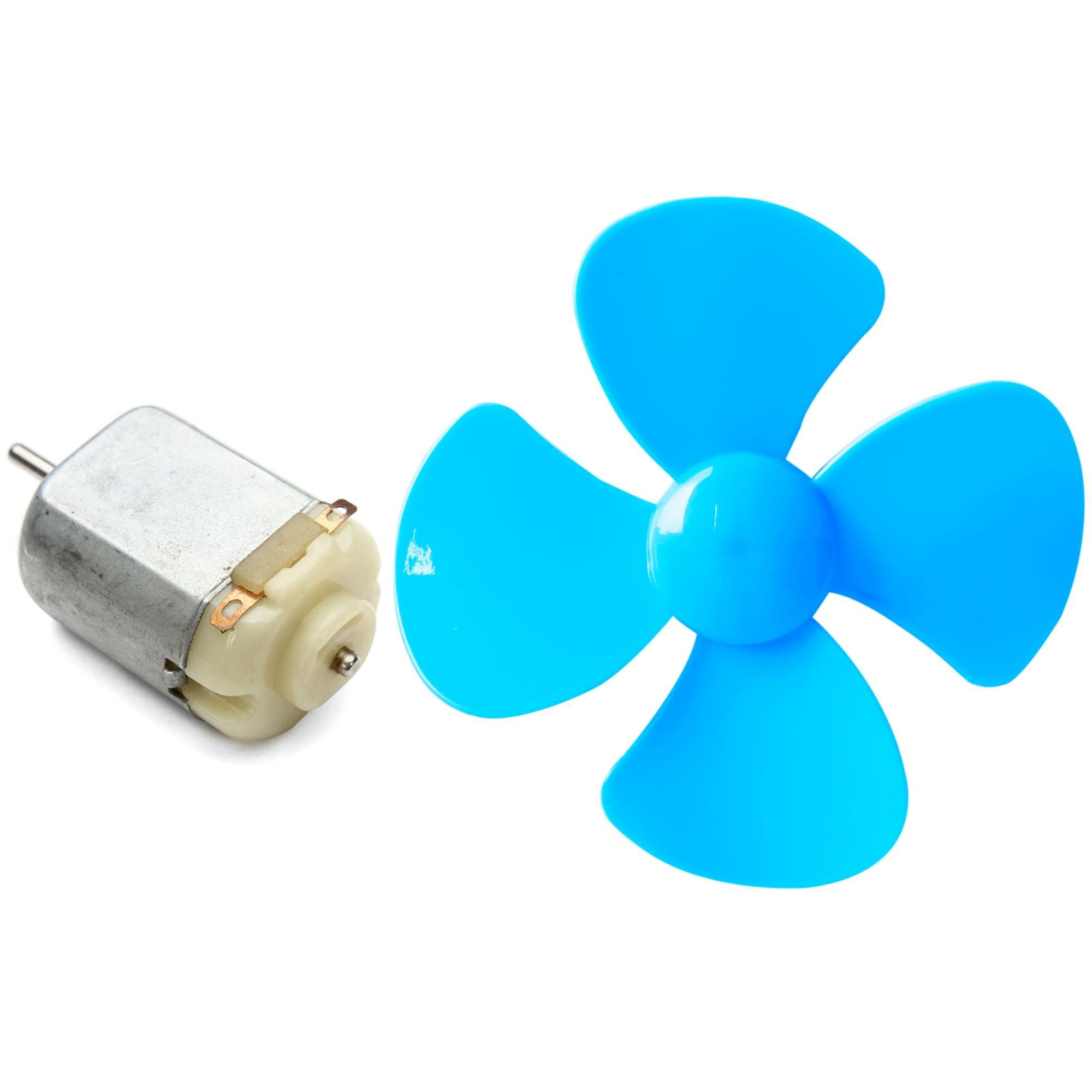 Diy 4 Blade Plastic Fan + Dc 3V-6V Mini Motor For Diy Projects And