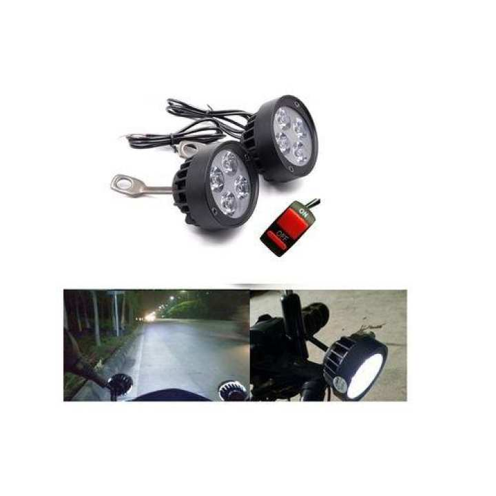 4 Led Motorcycle Mirror Mount Led Driving Fog Spot Light -Black