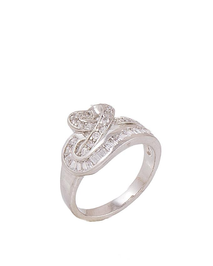 Silver Zircon & Alloy Studded Ring for Women - M-32