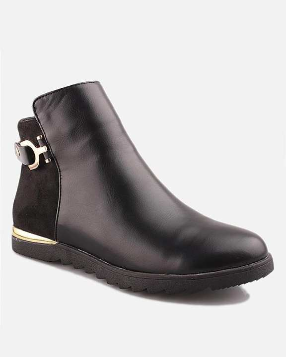 Black Thermo Plastic Rubber & Synthetic Leather Boots For Women - Feeling 5051