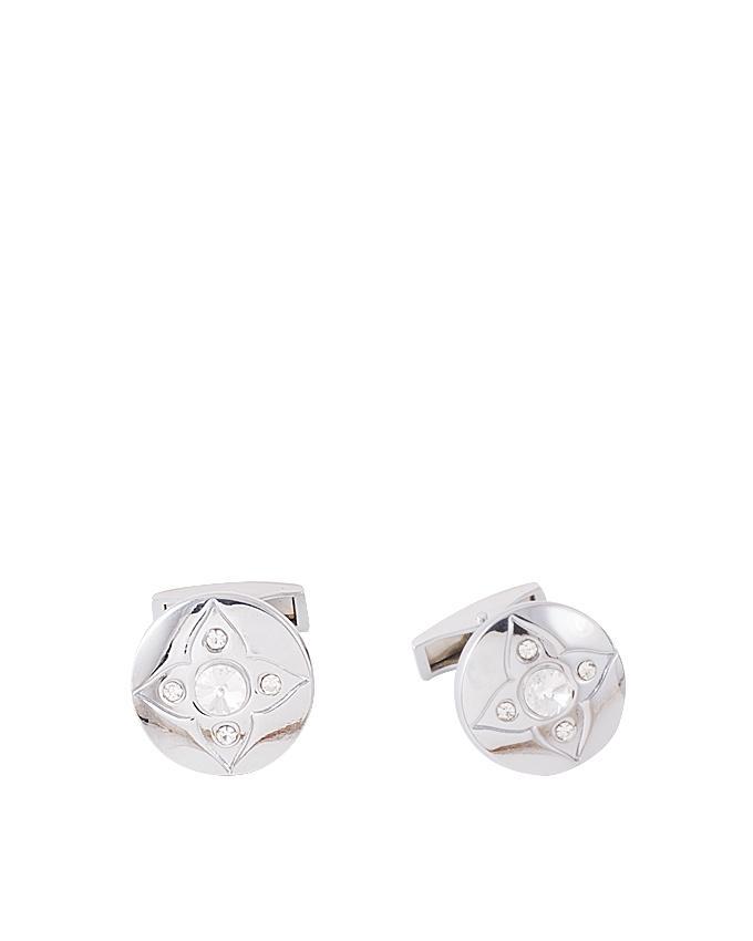Silver Rhodium Round Shaped Zircon Cufflink