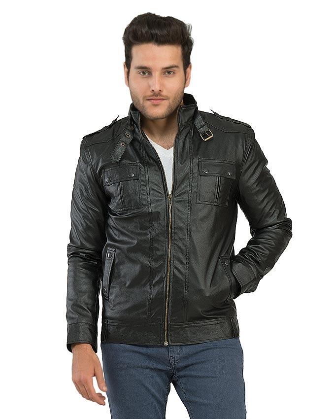 Black Slim Fit Leather Jacket For Men