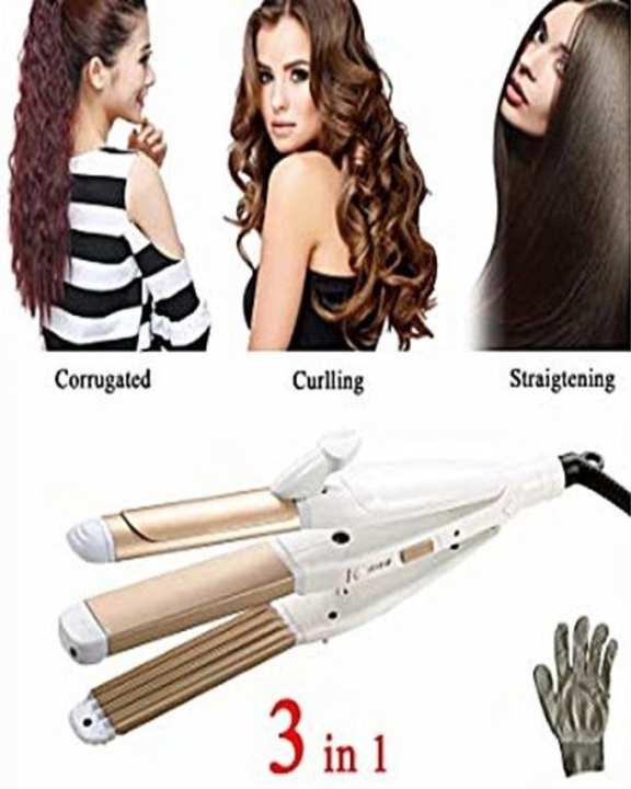 Kemei Km-1291 - Professional Hair Straightener, Curler & Crimper Iron - White & Pink