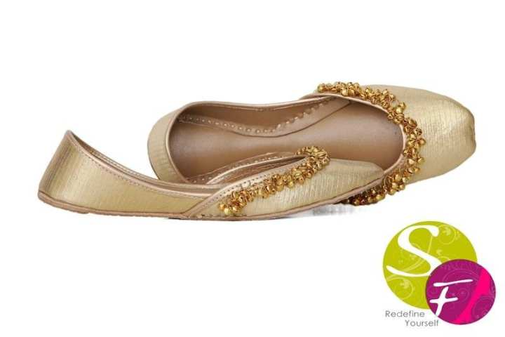 Golden Leather Khussas with Ghungroo For Women