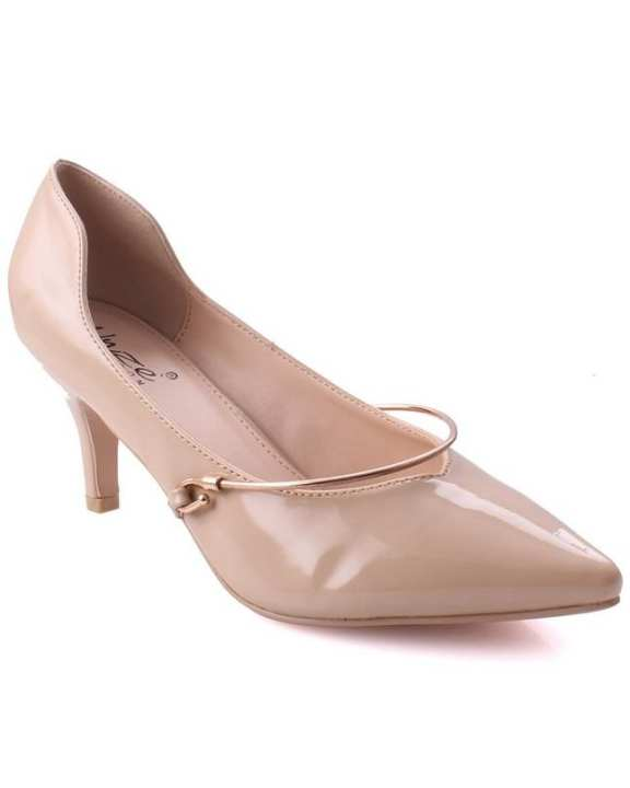"Beige Women ""NIA"" Glossy Metallic Detailing Pointed Toe Courts L29874"