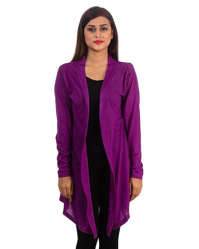 Purple Viscose Shrug For Women