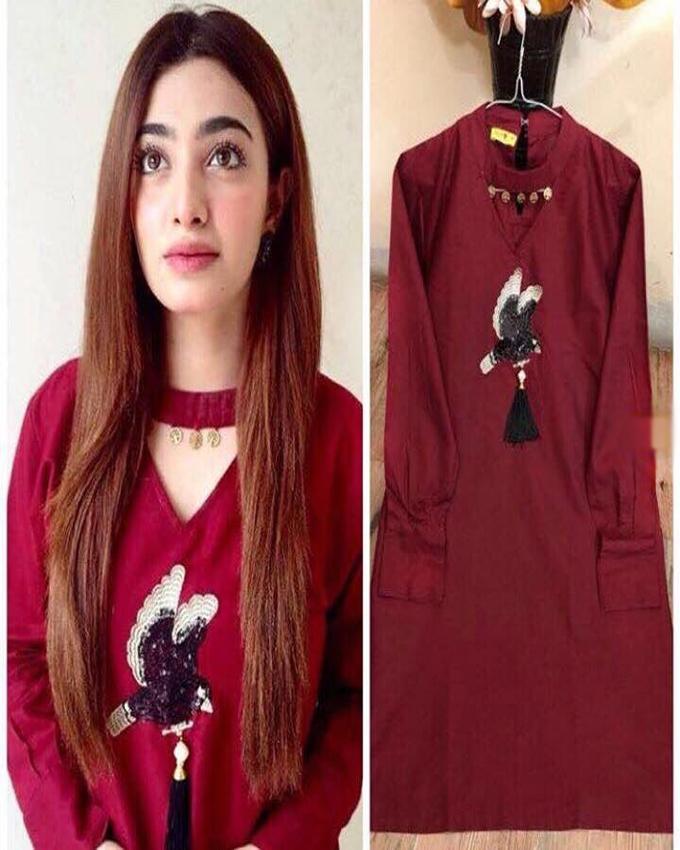 83722874f1 Maroon Bird Shirt For Women