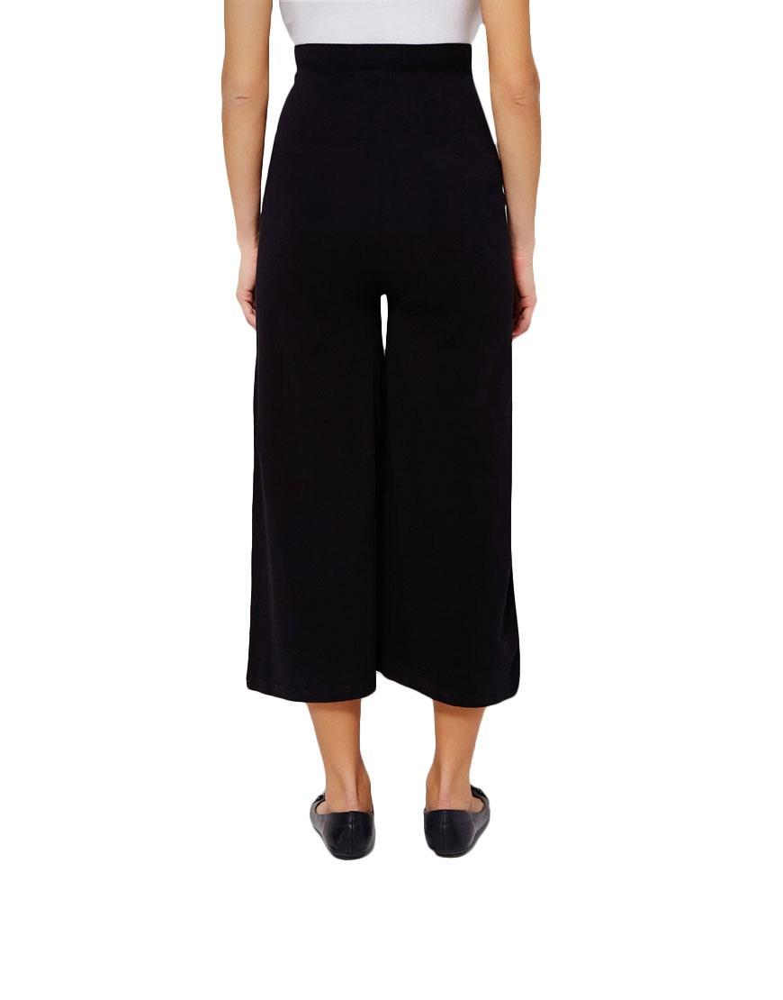 Black Mixed Cotton Maternity Palazzo Pants For Women