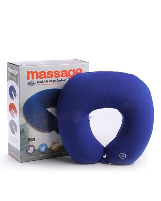 Vibrating Microbead Travel Pillow Massage Cushion - Blue