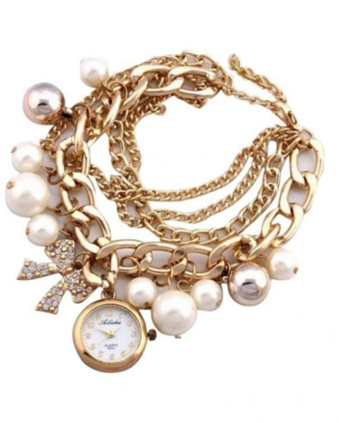White & Golden Pearls Analog Watch for Women