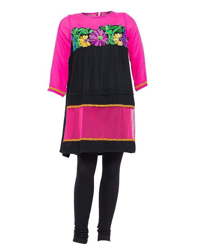f48e31c2f8c7 Black Malai Lawn Short Length Kurta With Woolen Embroidery And Net ...