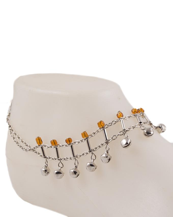 Silver Ball-Shaped Sterling Anklet