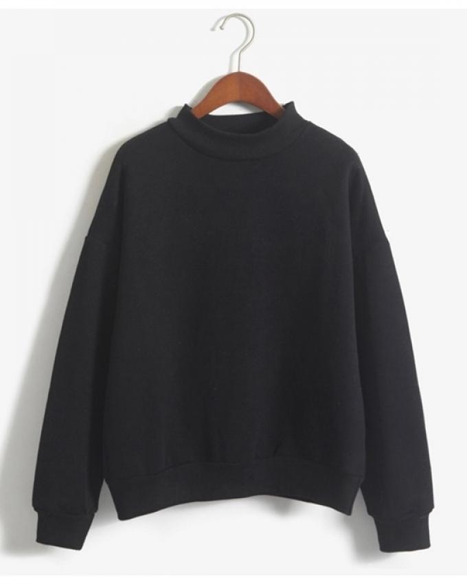 Sweatshirt 2018 Winter Casual Loose Fleece Pullover Black