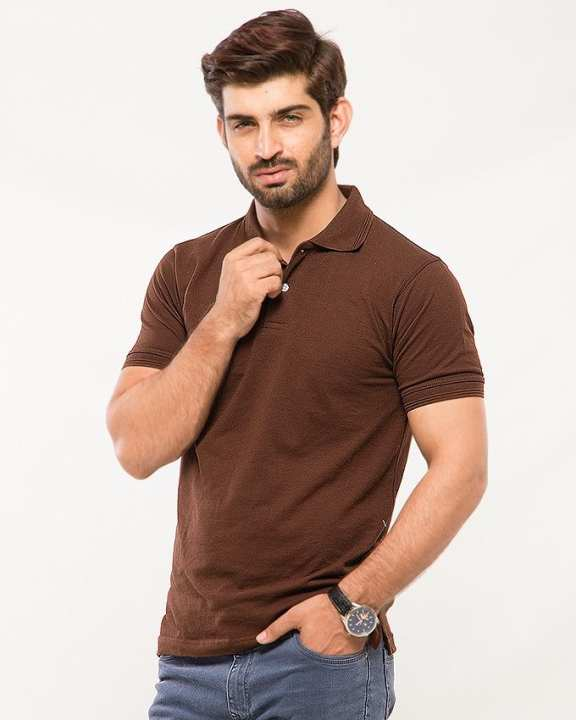 Brown Poly-Cotton Polo T Shirt for Men