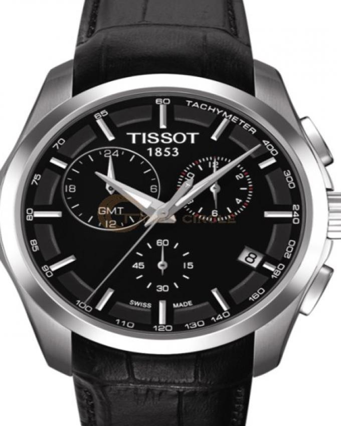 f3ccb3af009 Tissot Black Dial And Leather Strap Couturier Chronograph Watch For Men