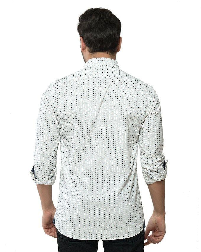 Milky White Cotton Printed Shirt for Men