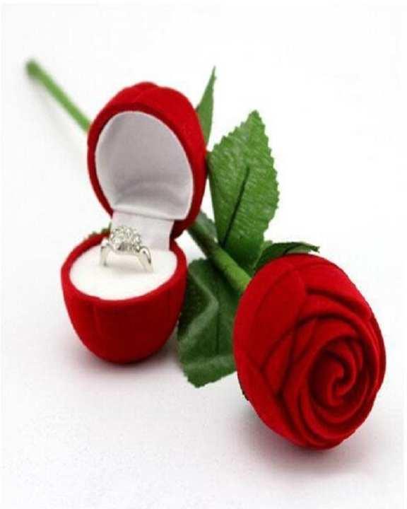 Red Rose Flower Ring Box