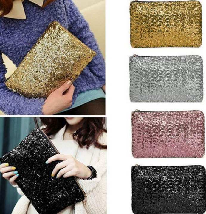 Black Polyester Glitter Sparkling Pouch