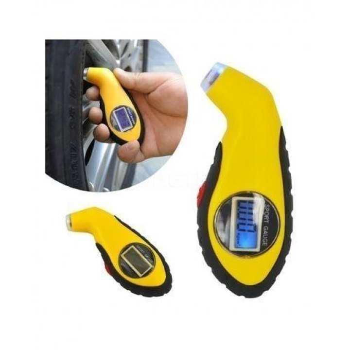 Sports Lcd Digital Tyre Gauge Barometer - Yellow