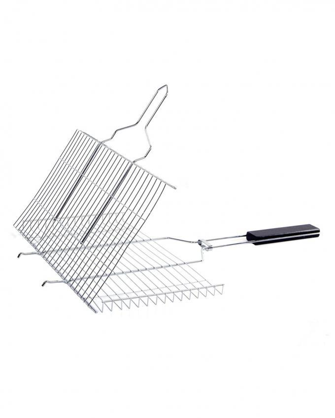 Large Grill Basket BBQ Accessory for Fish Chicken Meat Vegetable  - Silver