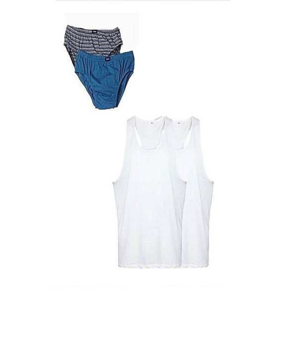 Pack of 4 - Multicolor Cotton Brief Innerwear & Inner Vest for Men