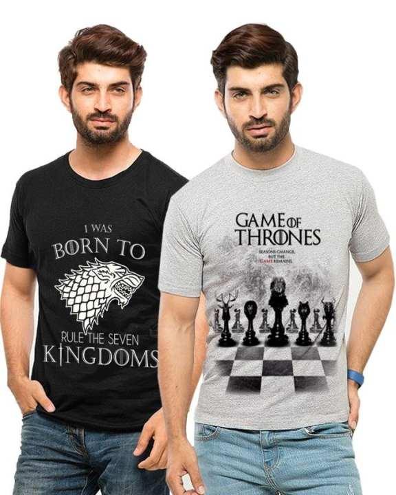 Pack Of 2 - Printed T-Shirt For Men - Black & Grey