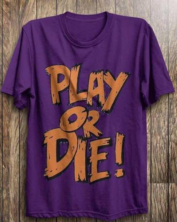 Purple Play Or Die Gamers Printed Half Sleeves Round Neck Tshirt For Men