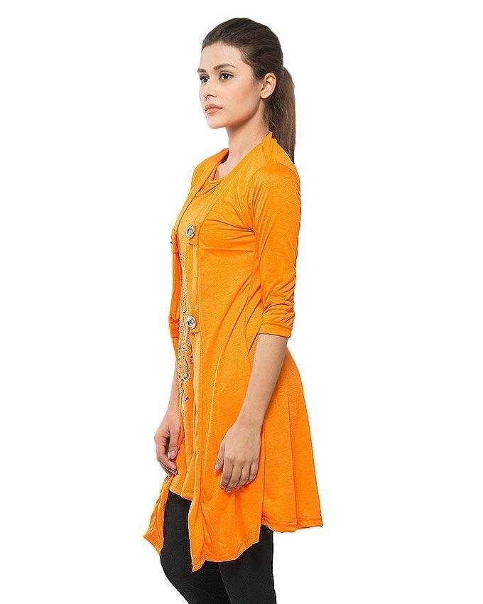 Orange Viscose Shrug Style Top for Women
