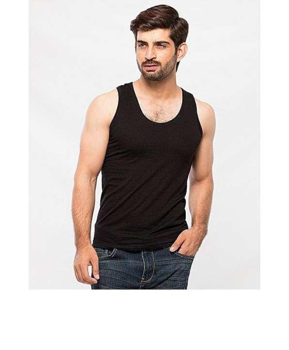 Black Cotton Vest For Men