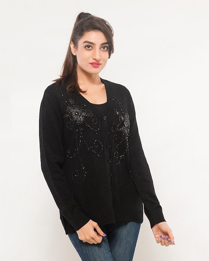 Black Acrylic Wool Cardigan