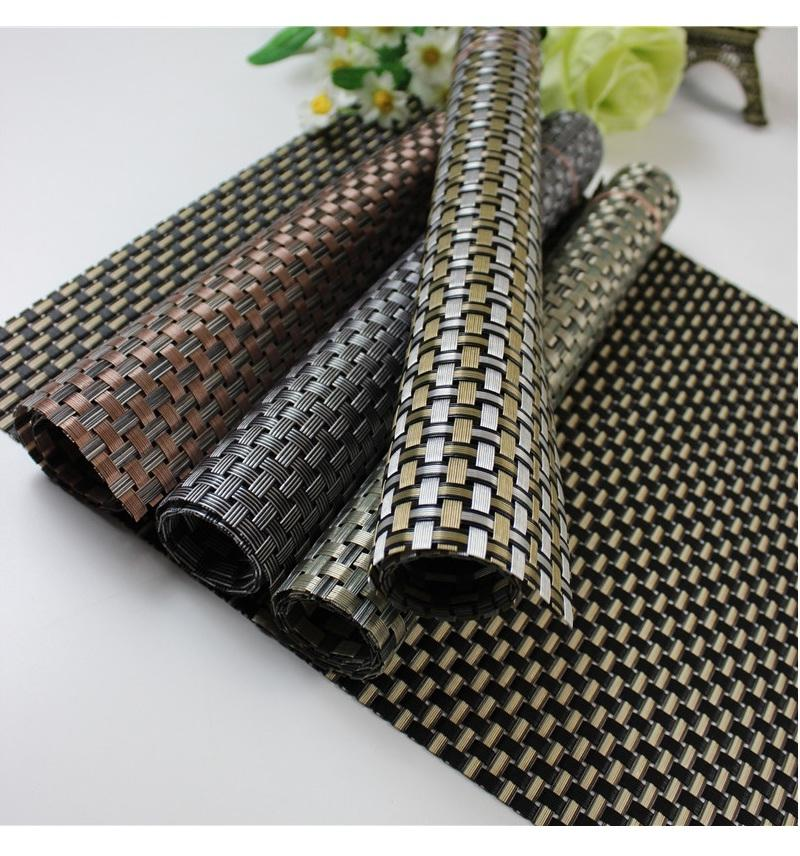 1120 - Solid PVC Material Placemats - 6 pcs - Brown