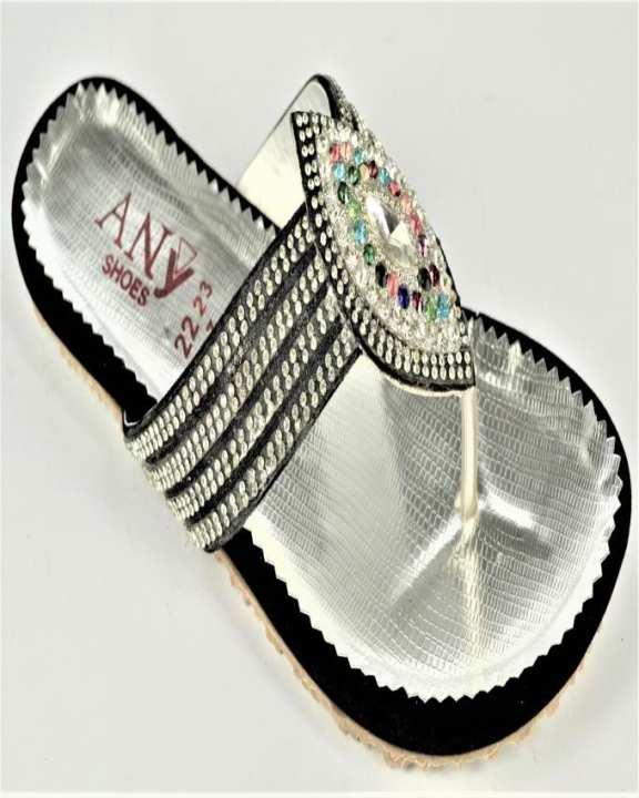 Silver Suede & Rexine Slipper for Women