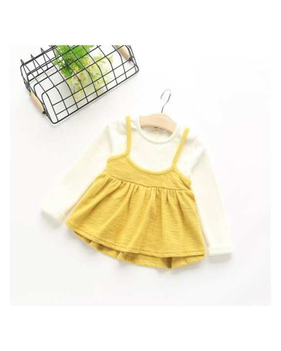 Yellow And White Cotton Frock For Girls