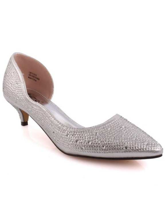 Silver Women 'Agnis' D'orsay Pointy Wedding, Bridal Court Shoes L28713
