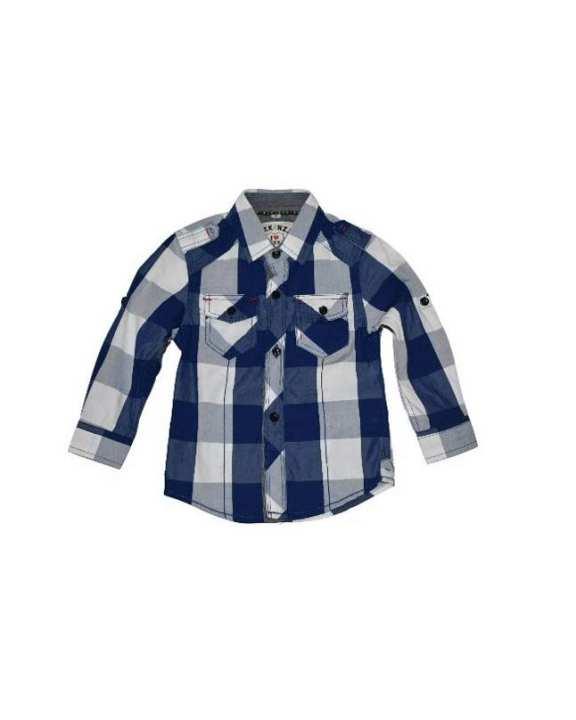 White & Blue Cotton Check Shirt For Boys