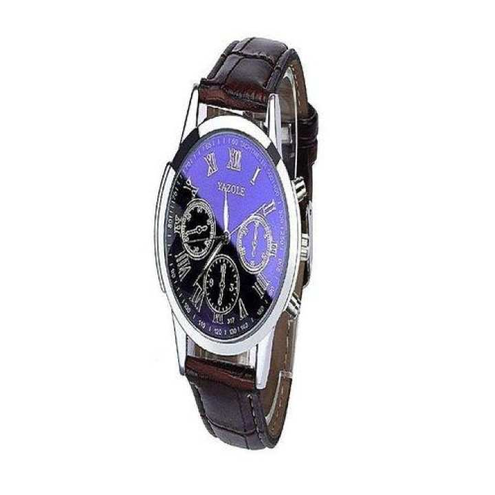 Yazole Stainless Steel - Men - Chronograph Wrist Watch - Blue & Brown