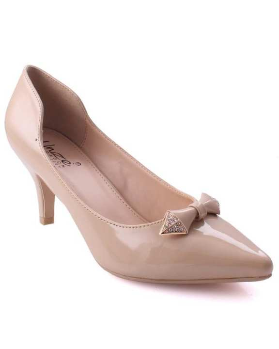 """Beige Women """"LEXIE"""" Bow Decorated Stellito Courts"""