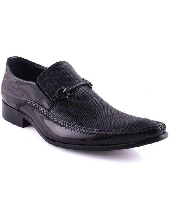 "Black Men's ""IKAR"" Shine Textured Oxford Shoes"