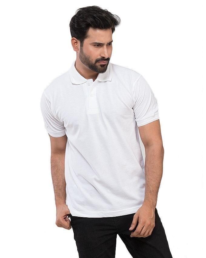 White Cotton Polo Shirt for Men